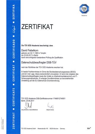 TUV-Zertifikat David Fiebelkorn